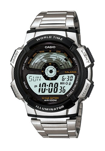 Casio silver Casio - Jam Tangan Pria - Silver Stainless Steel - AE-1100WD-