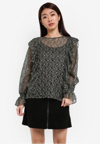 Dorothy Perkins green Khaki Metallic Lace Ruffle Top DO816AA0RSNOMY_1