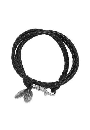 Elfi black Elfi Stainless Steel Tribal Feathers Charm Leather Bracelet LB23 BA741ACE22EB06GS_1
