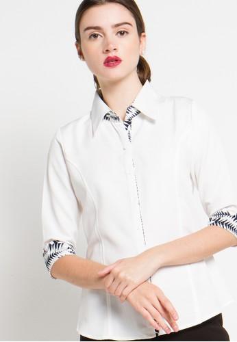 FAME white 7/8 Sleeves Shirt FA157AA88TLFID_1