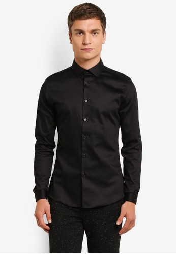 Topman black Black Satin Muscle Fit Shirt TO413AA0RO9YMY_1