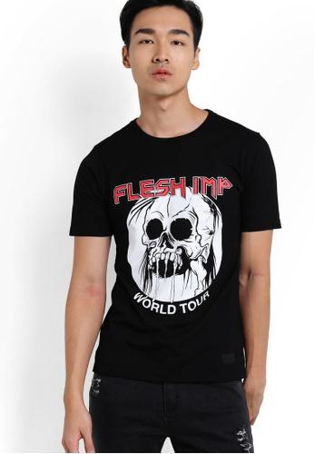 Flesh Imp 黑色 Skull Ironmaide T-Shirt FL064AA22VVPMY_1