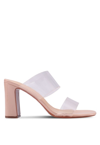 Something Borrowed pink Transparent Panels Heeled Mules 048A8SH9604562GS_1