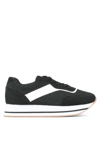 Something Borrowed black Lace Up Platform Sneakers 09803SHA07F31BGS_1