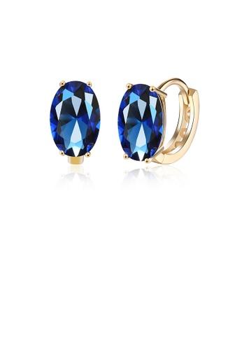 Glamorousky blue Elegant and Fashion Plated Champagne Geometric Oval Blue Cubic Zircon Earrings B6ABAAC280F5FEGS_1