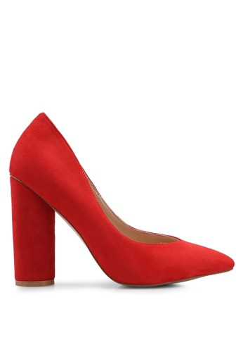 Public Desire 紅色 經典圓頭粗跟鞋 56153SH49F1705GS_1