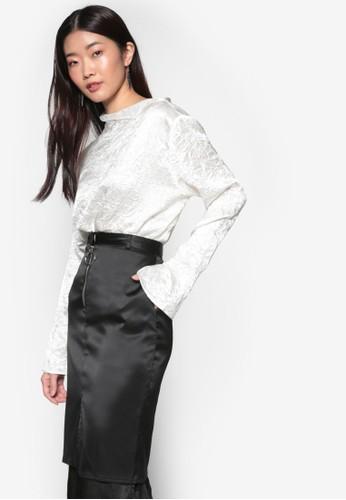 韓式風格亮眼不對稱領口長袖上esprit地址衣, 服飾, 上衣