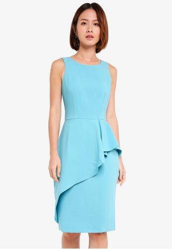 CLOSET blue Pencil Peplum Drape Dress AC7D3AAAC1C01CGS_1