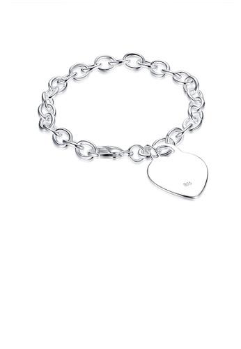 Glamorousky silver Simple Elegant Fashion Romantic Heart Shape Bracelet A8BF8AC592D40DGS_1