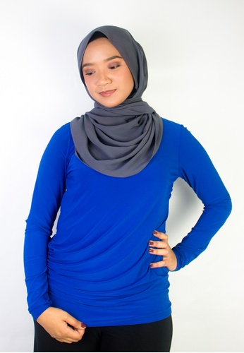 Zaryluq blue Drape Top in Azure Blue 323A1AA21A2F34GS_1
