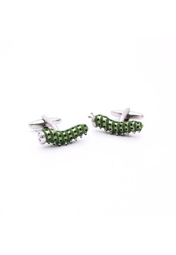 Red Stag And Hind green Red Stag And Hind Enamel Caterpillar Cufflinks AF3C6AC781874BGS_1