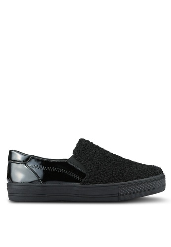 Something Borrowed black Shearling Slip On Trainers 9A9FDZZ92848ACGS_1