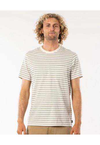 Rip Curl white Rails Stripe Tee 99EE5AABD8AC50GS_1