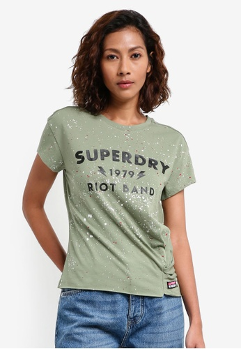 Superdry green SPLATTER KNOT TEE 21680AA0912268GS_1
