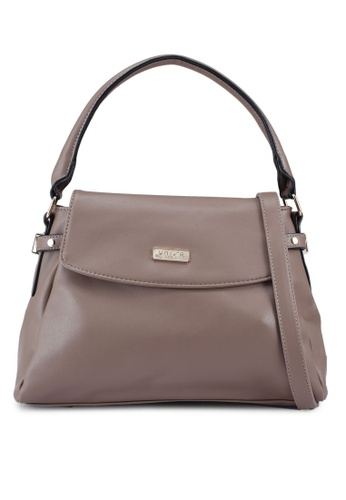Unisa brown Faux Leather Convertible Satchel 77F95AC67518CEGS_1