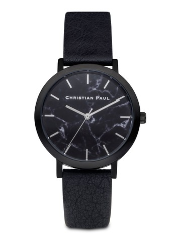 The esprit outlet 桃園Strand 35mm 大理石圓框手錶, 錶類, 皮革錶帶