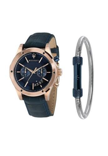 00e5b8d0a10a Maserati blue Circuito Quartz Watch R8871627002 Blue Leather Strap + Blue  PVD Stainless Steel Bracelet JM08