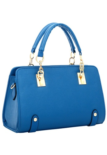 Jackbox blue Fashion Cross Pattern PU Leather Shoulder Sling Bag Tote Bag 323 (Sapphire Blue) JA762AC22XSVMY_1