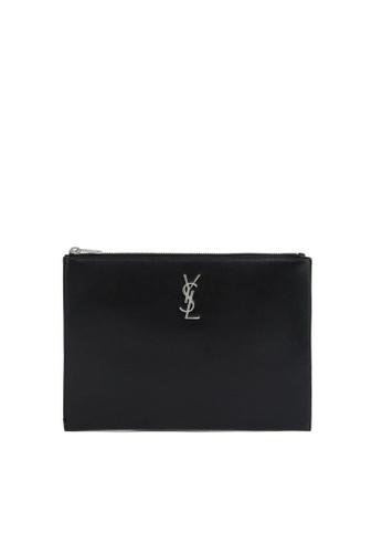 SAINT LAURENT black Monogram Tablet Holder Pouch B9853AC22C3D07GS_1