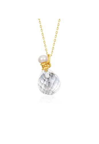 SUNSET gold Premium 925 Sliver Pearl Necklace E3113AC00132F4GS_1