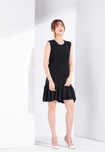 Zafiti black Pleated Sleeveless Dress 9AA62AA86CB55FGS_1
