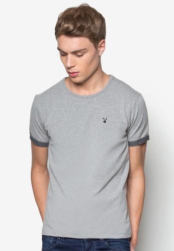 撞色反折混色短袖esprit地址上衣, 服飾, T恤