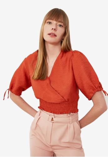Trendyol red Shirred Waist Wrap Crop Top EDFF1AAAAEBABCGS_1