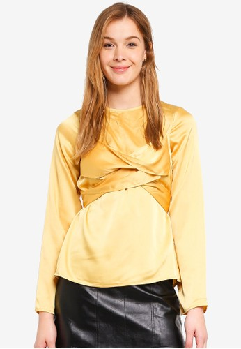 LOST INK gold Self Fabric Cross Front Blouse 6B902AA622AA22GS_1