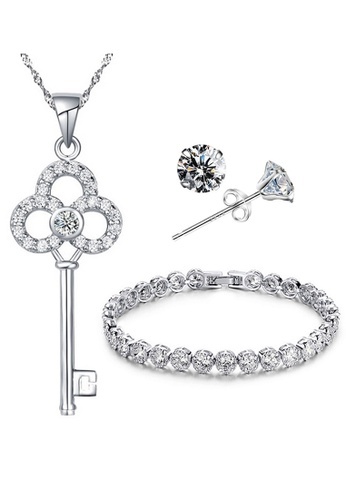 YOUNIQ silver YOUNIQ Untold 925 Sterling Silver Necklace Key Pendant with Silver Cubic Zirconia Necklace, Earrings & Bracelet Set YO999AC69LSGMY_1