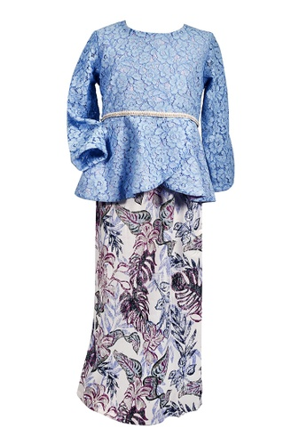 MINI PINK white and blue Gorgeous Frozen Blue Tulip Peplum Baju Kurung 785EFKAE37B0C5GS_1