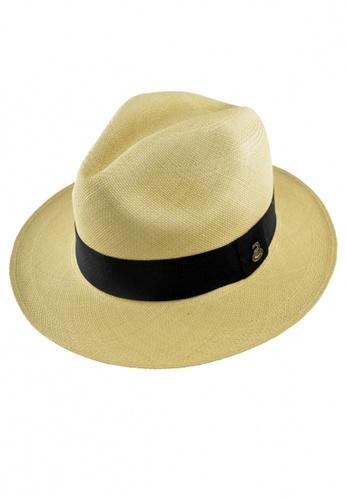 DOSSCAPS beige Ecua-Andino Classic Natural Panama Hat (Black Band) DO290AC0S0JAMY_1