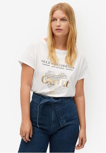 Violeta by MANGO white Plus Size Message Heart T-Shirt 2C303AA59F64D9GS_1