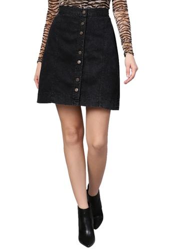 SASSAFRAS black Black Denim A-Line Skirt 1CB9AAA2242297GS_1