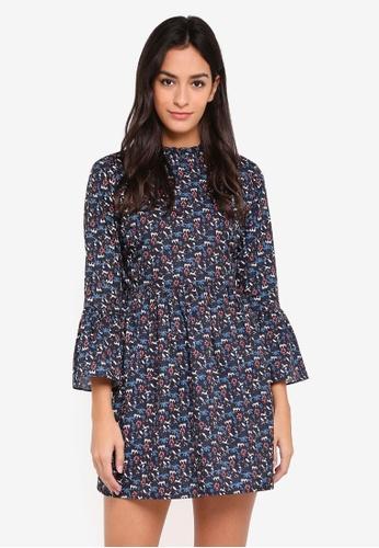 Something Borrowed navy Flare Sleeve Mini Dress 848C3AA01FE860GS_1