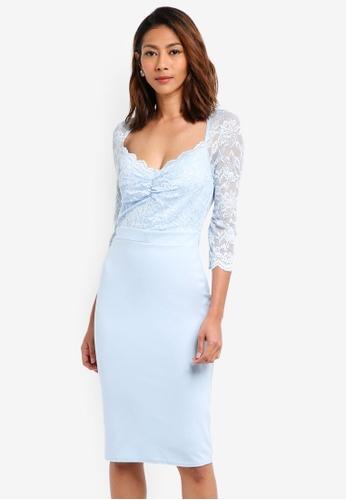 a6f64baba80a Goddiva blue Half Sleeve Midi Dress With Sweetheart Neckline  50734AA57A3336GS_1
