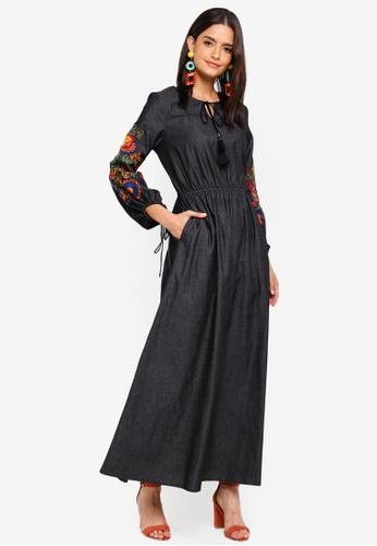 Zalia black Embroidered Peasant Dress E4106AA613CC6BGS_1