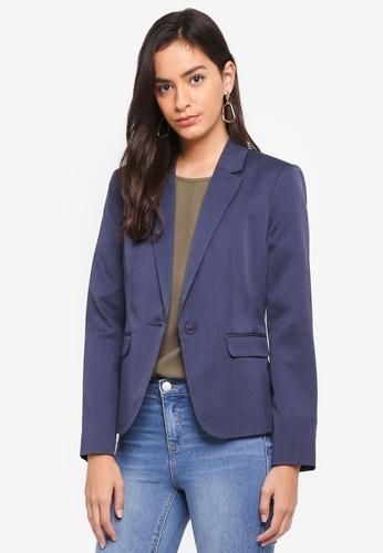 Dorothy Perkins navy Navy Twill Textured Blazer 95737AA17E0E3DGS_1