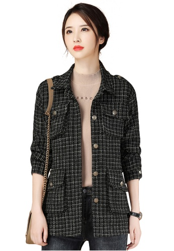 A-IN GIRLS black Fashion Check Woolen Coat 71455AABD14301GS_1