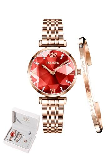 OLEVS red [Valentines Special]  Olevs Eonian Women Quartz Watch & Bracelet Set 69C00ACFB230F1GS_1
