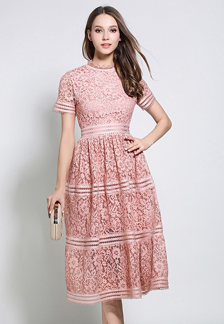 2018 CA043043PI Piece Pink Sunnydaysweety One Dress Collar Lace Pink New Ruff r1Hxwr7