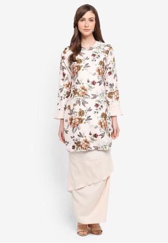 Gene Martino beige Layered Skirt Kurung Modern 2EE99AAC888851GS_1