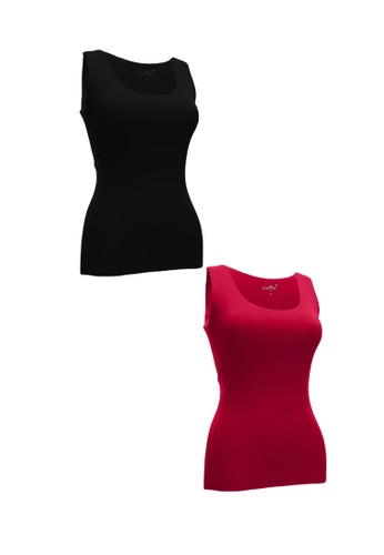 Chelyne black and red Chelyne Singlet Atasan XL 025 Bahan Seamless Lycra Daleman/Camisole Harian (Isi 2 pcs) 94382AA0FD27BDGS_1