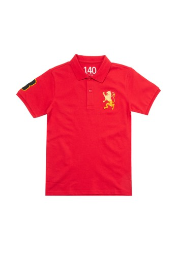 Giordano red 3D Lion Junior Polo Shirt B5CB3KAC456A1CGS_1