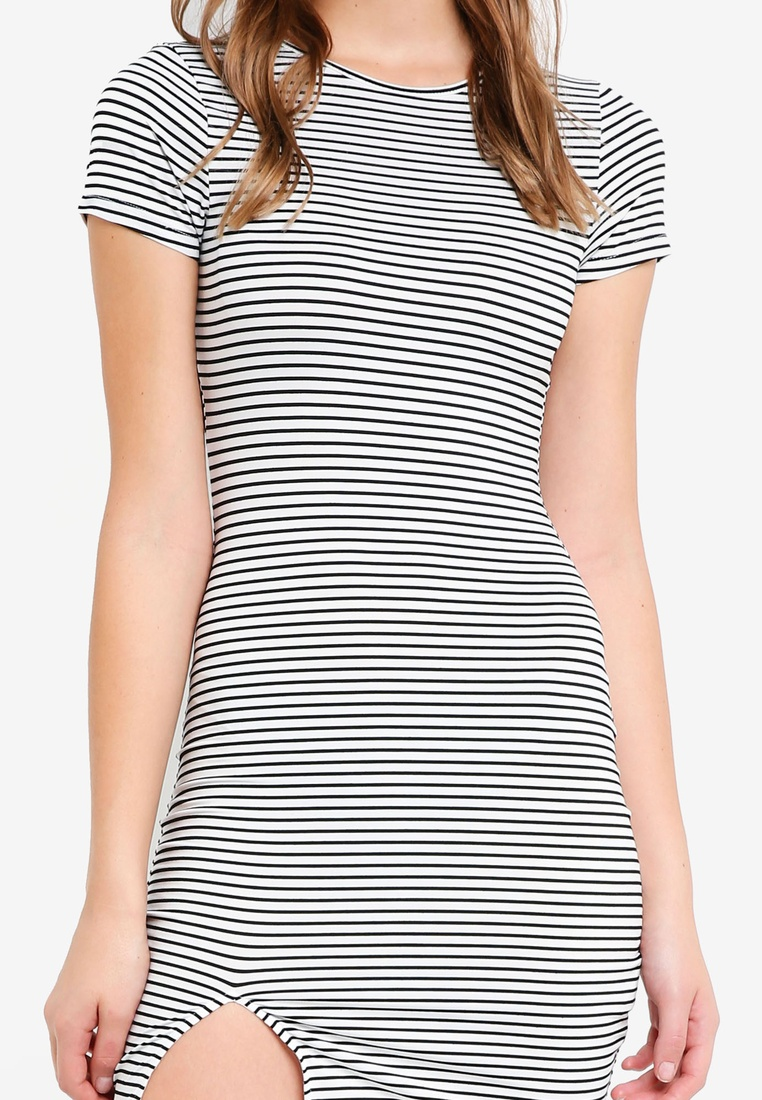 BASICS Short Stripe Bodycon Dress Sleeves White Black Black 2 with pack ZALORA Basic xRq0cOg