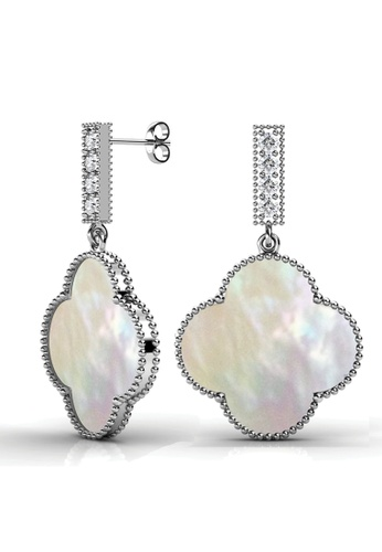 Her Jewellery silver Pearl Four Leaf Earrings - Made with premium grade crystals from Austria 9FC6BAC1CACA31GS_1