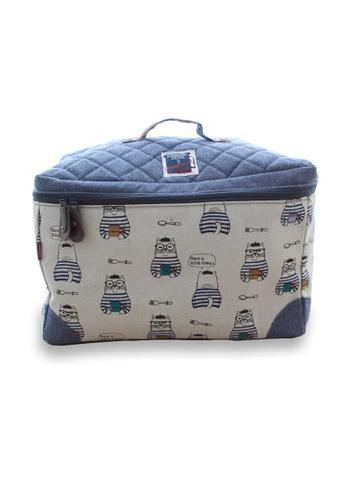LULUGIFT blue Lulugift Kusuguru Shippo Caramel Chocolate Cat Travel Storage Bag Blue LU989AC0SDLSMY_1