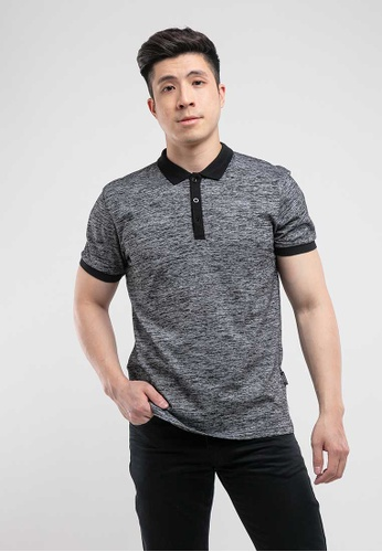 FOREST black Forest Two Tone Slim Fit Polo - 23086 Black A4F72AA7298A34GS_1