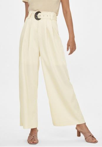 Pomelo beige Belted Wide Leg Pants - Beige 735D3AA747437CGS_1