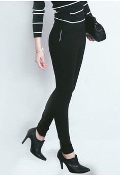 Zip Up Skinny Stretch Trousers