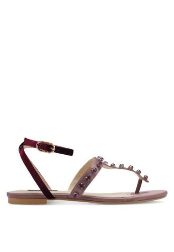ZALORA pink Pearl Sandals A850BSHA2FF9CEGS_1